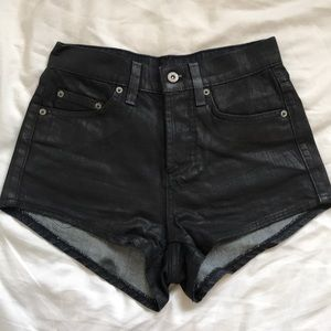 CARMAR coated black denim shorts, stretchy size 25